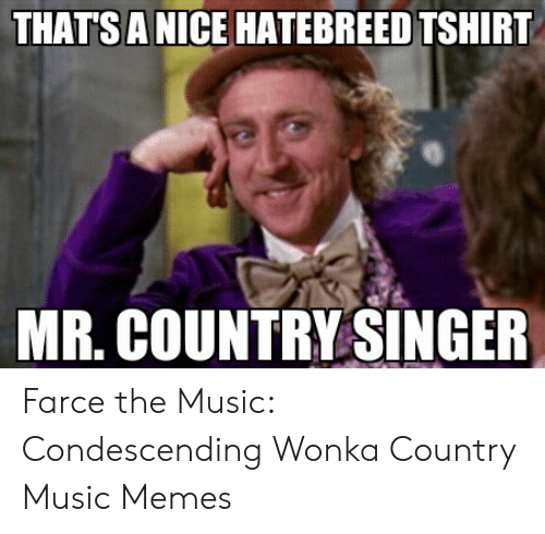 Country Music Memes: THATS A NICE HATEBREED TSHIRT  MR. COUNTRY SINGER Farce the Music: Condescending Wonka Country Music Memes