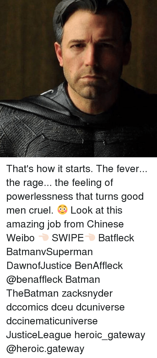Feveral: That's how it starts. The fever... the rage... the feeling of powerlessness that turns good men cruel. 😳 Look at this amazing job from Chinese Weibo 👈🏻 SWIPE👈🏻 Batfleck BatmanvSuperman DawnofJustice BenAffleck @benaffleck Batman TheBatman zacksnyder dccomics dceu dcuniverse dccinematicuniverse JusticeLeague heroic_gateway @heroic.gateway
