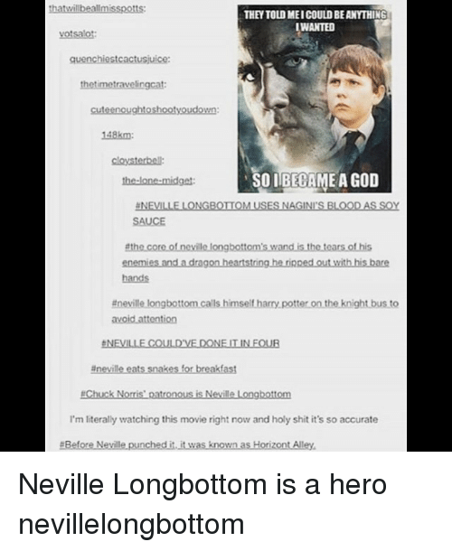soy sauce: thatwillbeallmisspotts:  THEY TOLD MEI COULD BE ANYTHING  WANTED  votsalot  quenchiestcactusjuice:  thetimetravelingcat  cuteenoughtoshootyoudown:  148km  cloysterbell:  the-lone-midget  SOIBECAME A GOD  NEVILLE LONGBOTIOM USES NAGINI'S BLOODAS SOY  SAUCE  enemies and a dragon heartstring he rinped out with his bare  hands  #nevillelongbottomcalls himseltharrypotterontheknightbusto  台NEVILLE COULD'VE DONE IT IN FOUR  #nevilleets snakes for breakfast  #Chuck Norris' patronous is Neville Longbottom  I'm literally watching this movie right now and holy shit it's so accurate  #BeforeNevillepunchedi.itwas known asHorizontAlley. Neville Longbottom is a hero nevillelongbottom