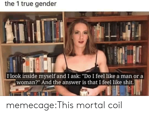 """Shit, True, and Tumblr: the 1 true gender  I look inside myself and I ask: """"Do I feel like a man or a  woman?"""" And the answer is that I feel like shit. memecage:This mortal coil"""