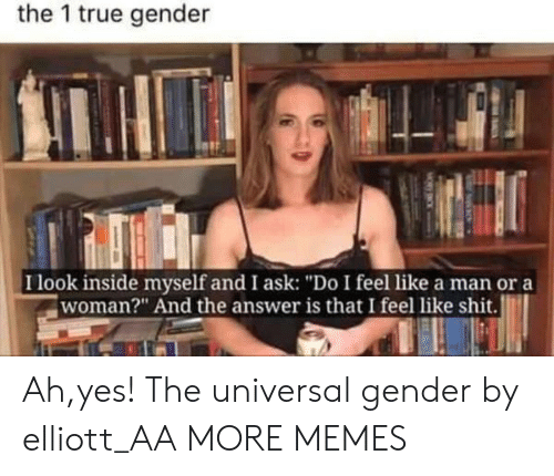 "The 1: the 1 true gender  I look inside myself and I ask: ""Do I feel like a man or a  woman?"" And the answer is that I feel like shit. Ah,yes! The universal gender by elliott_AA MORE MEMES"