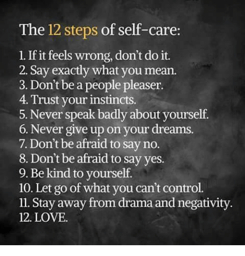 People Pleaser: The 12 steps of self-care  1. If it feels wrong, don't do it.  2. Say exactly what you mean.  3. Don't be a people pleaser.  4. Trust your instincts.  5. Never speak badly about yourself  6. Never give up on your dreams.  7. Don't be afraid to say no.  8. Don't be afraid to say yes.  9. Be kind to yourself.  10. Let go of what you can't control.  ll. Stay away from drama and negativity.  12. LOVE.