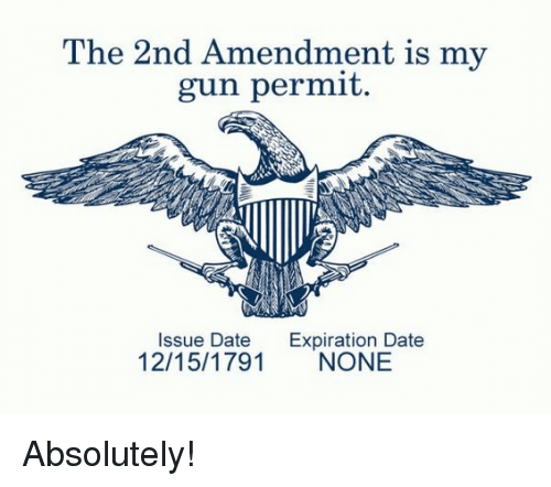 Memes, Date, and 2nd Amendment: The 2nd Amendment is my  gun permit  Issue Date Expiration Date  12/15/1791 NONE Absolutely!