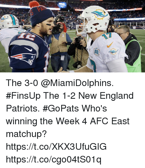 England Patriots: The 3-0 @MiamiDolphins. #FinsUp The 1-2 New England Patriots. #GoPats  Who's winning the Week 4 AFC East matchup? https://t.co/XKX3UfuGIG https://t.co/cgo04tS01q