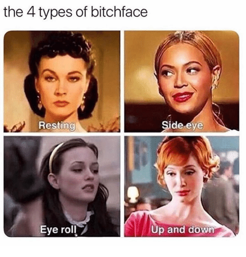roll up: the 4 types of bitchface  Resting  Side eye  Eye roll  Up and down