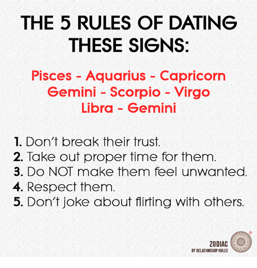 Dating, Respect, and Aquarius: THE 5 RULES OF DATING  THESE SIGNS:  Pisces Aquarius - Capricorn  Gemini Scorpio Virgo  Libra Gemini  1. Don't break their trust.  2. Take out proper time for them  3. DO NOT make them feel unwanted  4. Respect them.  5. Don't joke about flirting with others.  ZODIAC  BY RELATIONSHIP RULES