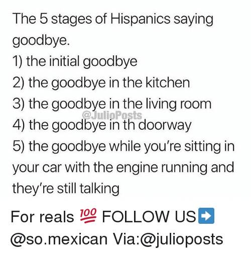 For Reals: The 5 stages of Hispanics saying  goodbye.  1) the initial goodbye  2) the goodbye in the kitchen  3) the goodbye in the living room  4) the goodbye in th doorway  5) the goodbye while you're sitting in  your car with the engine running and  they're still talking  @JulipPosts For reals 💯 FOLLOW US➡️ @so.mexican Via:@julioposts