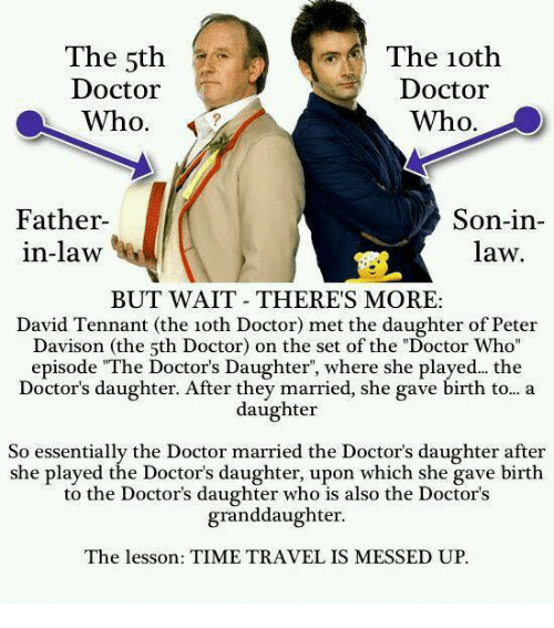 """Wait Theres More: The 5th  Doctor  Who.  The 1oth  Doctor  Who.  Father  in-law  Son-in-  law  BUT WAIT THERES MORE:  David Tennant (the 1oth Doctor) met the daughter of Peter  Davison (the 5th Doctor) on the set of the """"Doctor Who  episode """"The Doctor's Daughter, where she played... the  Doctor's daughter. After they married, she gave birth to... a  daughter  So essentially the Doctor married the Doctor's daughter after  she played the Doctor's daughter, upon which she gave birth  to the Doctor's daughter who is also the Doctor's  granddaughter  The lesson: TIME TRAVEL IS MESSED UP."""