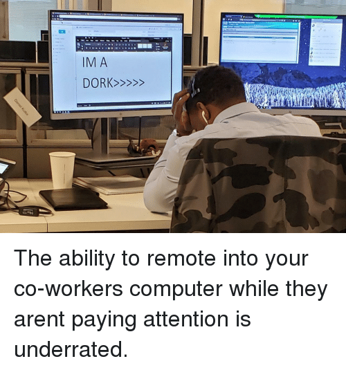 Computer, Ability, and They: The ability to remote into your co-workers computer while they arent paying attention is underrated.