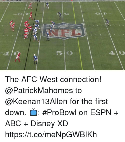 Abc, Disney, and Espn: The AFC West connection!  @PatrickMahomes to @Keenan13Allen for the first down.  📺: #ProBowl on ESPN + ABC + Disney XD https://t.co/meNpGWBIKh