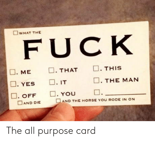 The All: The all purpose card