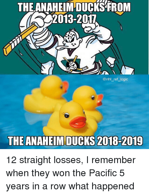 Anaheim Ducks: THE ANAHEIM DUCKS FROM  2013-2017  @nhl_ref logic  THE ANAHEIM DUCKS 2018-2019 12 straight losses, I remember when they won the Pacific 5 years in a row what happened