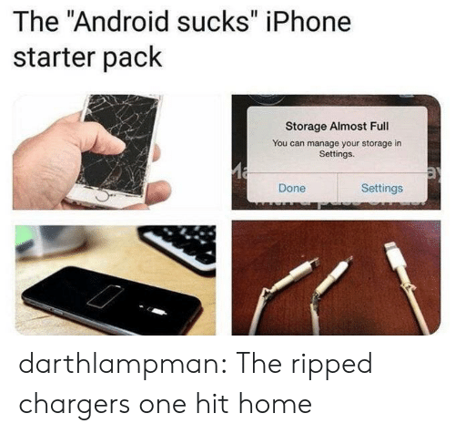 "Settings: The ""Android sucks"" iPhone  starter pack  Storage Almost Full  You can manage your storage in  Settings.  Settings  Done darthlampman:  The ripped chargers one hit home"