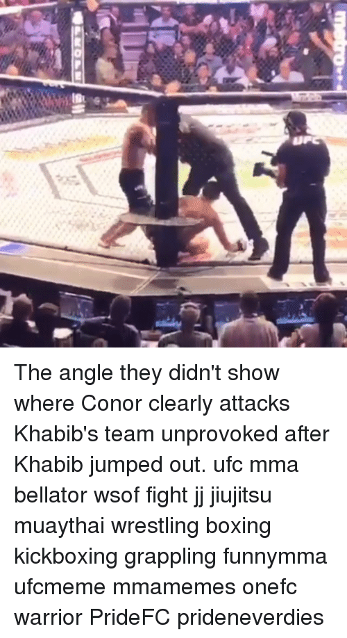 Boxing, Memes, and Ufc: The angle they didn't show where Conor clearly attacks Khabib's team unprovoked after Khabib jumped out. ufc mma bellator wsof fight jj jiujitsu muaythai wrestling boxing kickboxing grappling funnymma ufcmeme mmamemes onefc warrior PrideFC prideneverdies