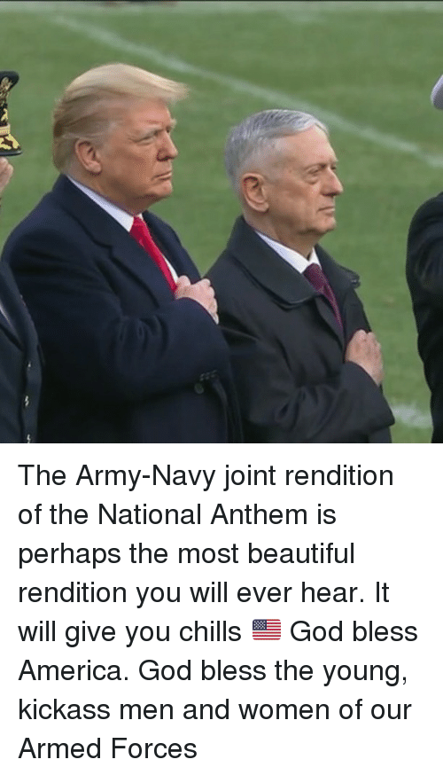America, Beautiful, and God: The Army-Navy joint rendition of the National Anthem is perhaps the most beautiful rendition you will ever hear. It will give you chills 🇺🇸 God bless America. God bless the young, kickass men and women of our Armed Forces