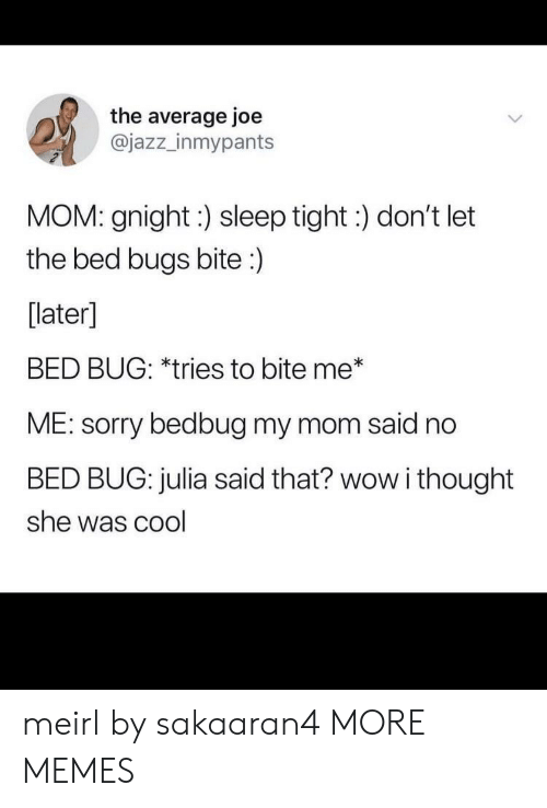 Dank, Memes, and Sorry: the average joe  @jazz_inmypants  MOM: gnight:) sleep tight:) don't let  the bed bugs bite:)  [later]  BED BUG: *tries to bite me*  ME: sorry bedbug my mom said no  BED BUG: julia said that? wow i thought  she was cool meirl by sakaaran4 MORE MEMES