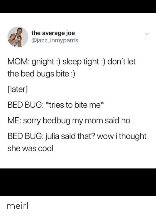 Sorry, Wow, and Bed Bugs: the average joe  @jazz_inmypants  MOM: gnight:) sleep tight:) don't let  the bed bugs bite:)  [later]  BED BUG: *tries to bite me*  ME: sorry bedbug my mom said no  BED BUG: julia said that? wow i thought  she was cool meirl
