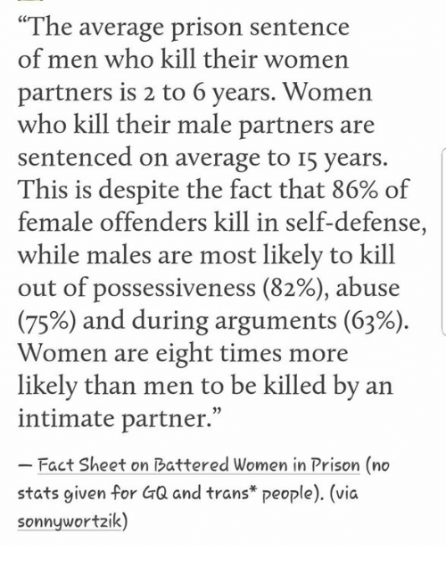 "Memes, Prison, and Women: ""The average prison sentence  of men who kill their women  partners is 2 to 6 years. Women  who kill their male partners are  sentenced on average to I5 years.  This is despite the fact that 86% of  female offenders kill in self-defense,  while males are most likely to kill  out of possessiveness (82%), abuse  (75%) and during arguments (63%)  Women are eight times more  likelv than men to be killed by an  intimate partner.""  Fact Sheet on Battered Women in Prison (no  stats given for GQ and trans* people). (vic  sonnywortzik)"