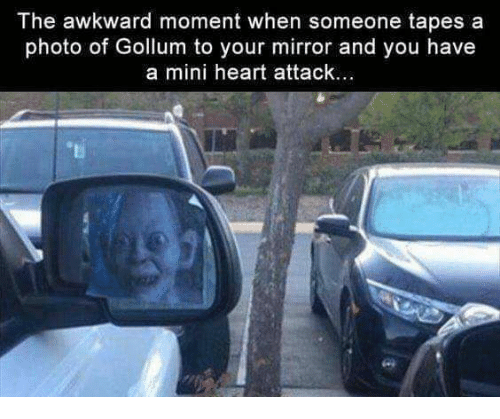 miny: The awkward moment when someone tapes a  photo of Gollum to your mirror and you have  a mini heart attack