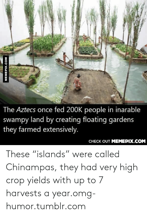 """Very High: The Aztecs once fed 200K people in inarable  swampy land by creating floating gardens  they farmed extensively.  CНЕCK OUT MЕМЕРIХ.COM  MEMEPIX.COM These """"islands"""" were called Chinampas, they had very high crop yields with up to 7 harvests a year.omg-humor.tumblr.com"""