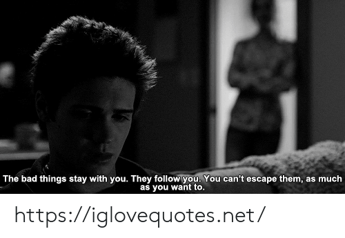 Bad, Net, and Them: The bad things stay with you. They followyou. You can't escape them, as much  as you want to. https://iglovequotes.net/