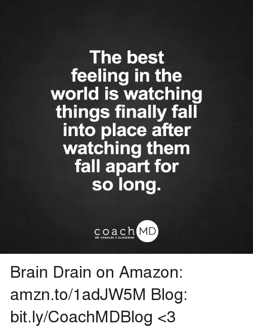 brain drain: The best  feeling in the  world is watching  things finally fall  into place after  watching them  fall apart for  so long.  coach MD Brain Drain on Amazon: amzn.to/1adJW5M Blog: bit.ly/CoachMDBlog  <3