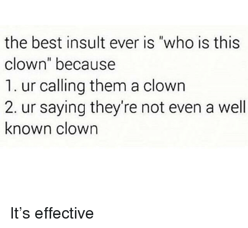 """Best, Who, and Clown: the best insult ever is """"who is this  clown"""" because  1. ur calling them a clown  2. ur saying they're not even a well  known clown It's effective"""