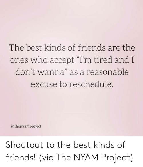 """Dank, Friends, and Best: The best kinds of friends are the  ones who accept """"T'm tired and I  don't wanna""""as a reasonable  excuse to reschedule.  0)  @thenyamproject Shoutout to the best kinds of friends!  (via The NYAM Project)"""