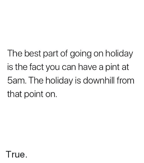The Holiday: The best part of going on holiday  is the fact you can have a pint at  5am. The holiday is downhill from  that point on. True.