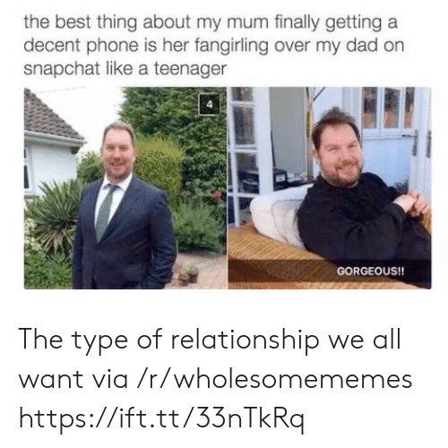 Snapchat: the best thing about my mum finally getting a  decent phone is her fangirling over my dad on  snapchat like a teenager  GORGEOUS!! The type of relationship we all want via /r/wholesomememes https://ift.tt/33nTkRq
