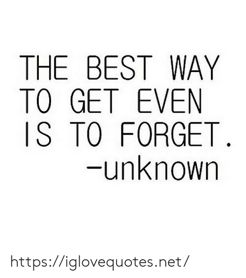 Best, Net, and Unknown: THE BEST WAY  TO GET EVEN  IS TO FORGET  -unknown https://iglovequotes.net/