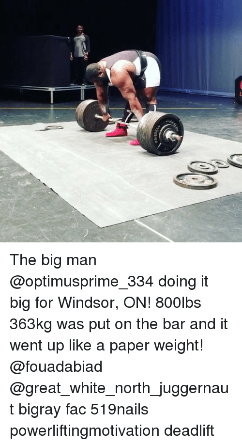 Windsor: The big man @optimusprime_334 doing it big for Windsor, ON! 800lbs 363kg was put on the bar and it went up like a paper weight! @fouadabiad @great_white_north_juggernaut bigray fac 519nails powerliftingmotivation deadlift