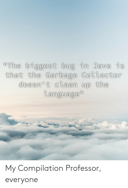"compilation: ""The biggest bug in Java is  that the Garbage Collector  doesn't clean up the  language"" My Compilation Professor, everyone"
