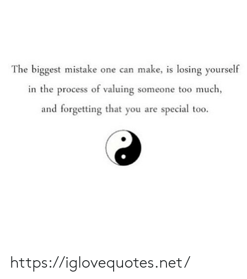 Too Much, Net, and Can: The biggest mistake one can make, is losing yourself  in the process of valuing someone too much  and forgetting that you are special too. https://iglovequotes.net/