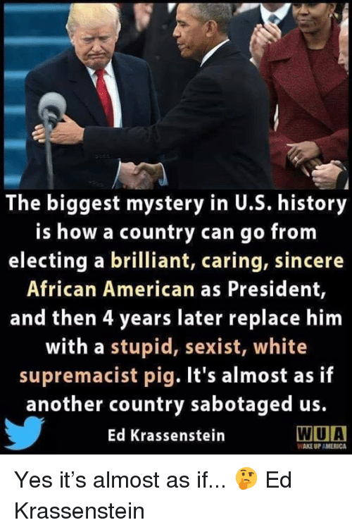wake up america: The biggest mystery in U.S. history  is how a country can go from  electing a brilliant, caring, sincere  African American as President,  and then 4 years later replace him  with a stupid, sexist, white  supremacist pig. It's almost as if  another country sabotaged us.  Ed Krassenstein  WIUA  WAKE UP AMERICA Yes it's almost as if... 🤔  Ed Krassenstein