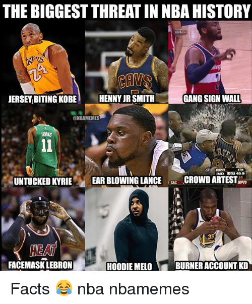 Basketball, Facts, and J.R. Smith: THE BIGGEST THREAT IN NBA HISTORY  JERSEY BITING KOBE  HENNY JR SMITH  GANG SIGN WALL  @NBAMEMES  IND 7 459  UNTUCKED KYRIE EAR BLOWING LANCECROWDARTEST  SAC  HEAT  FACEMASK LEBRON  HOODIE MELO  BURNER ACCOUNT KD Facts 😂 nba nbamemes