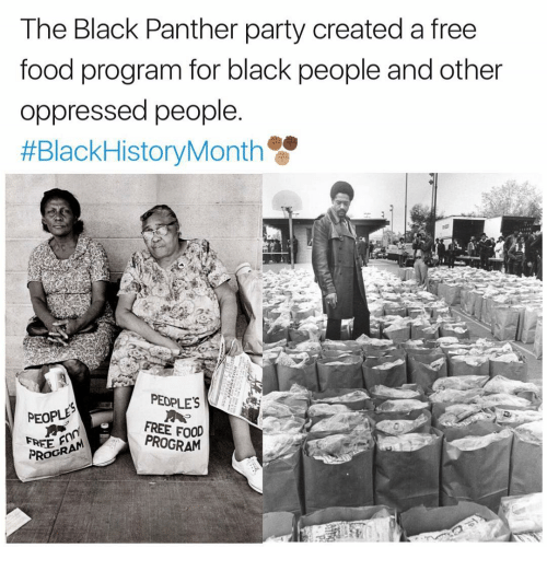 creat a: The Black Panther party created a free  food program for black people and other  oppressed people.  #BlackHistoryMonth  PEOPLES  PEOPLE  FREE PROGRAM  PROGRA