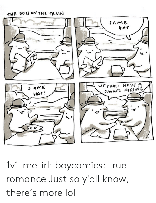 the train: THE BOYS ON THE TRAIN  SAME  HAT  SAME  WESHALL HAVE A  SummER WEDDING  HAT! 1v1-me-irl:  boycomics: true romance  Just so y'all know, there's more lol