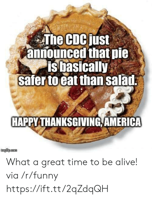 happy thanksgiving: The CDCjust  announced that pie  is basically  safer to eat than salad  HAPPY THANKSGIVING,AMERICA What a great time to be alive! via /r/funny https://ift.tt/2qZdqQH