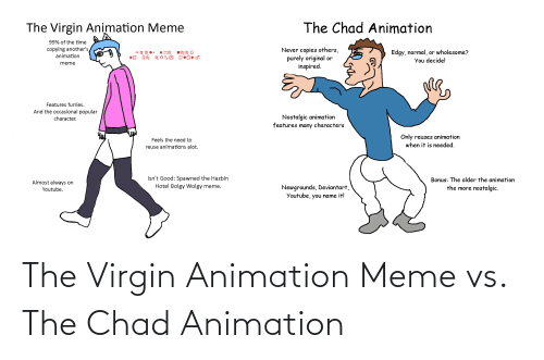 Animation Meme: The Chad Animation  The Virgin Animation Meme  99% of the time  Never copies others,  purely original or  inspired.  copying another's  Edgy, normal, or wholesome?  You decide!  animation  meme  Features furries.  And the occasional popular  character.  Nostalgic animation  features many characters  Only reuses animation  Feels the need to  when it is needed.  reuse animations alot.  Isn't Good: Spawned the Hazbin  Hotel Bolgy Wolgy meme.  Bonus: The older the animation  Almost always on  Newgrounds, Deviantart,  Youtube, you name it!  the more nostalgic.  Youtube. The Virgin Animation Meme vs. The Chad Animation
