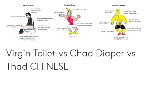 Ass, Butt, and Life: The Chad Diaper  The Virgin Toilet  The Thad CHINESE  Needs to hold it  No need to wash hands  until he can find a  ENTIRE COUNTRY  SHITS IN TRASH CANS,  bathroom  Can go on the go  IS HIS TOILET  SEWERS, PUBLIC PARKS  Wastes hours of his life  Has to share bathroom with  Uh-ONi  NO CONCEPT OF  filthy general public  Stinky  HYGIENE OR SHAME  MARKS TERRITORY  Soft, creamy poo provides a  cushion when sitting down  LIKE AN ALPHA  Scrapes asshole raw wiping,  still doesnt get it all  Bony butt means  time on the toilet will  Diaper makes ass  FLAP CUT IN PANTS FOR  be spent in pain  look extra thicc  CONVENIENT SHITTING  SOCIALLY ACCEPTABLE  Has to awkwardly announce that  he's going to the bathroom  whenever he's with people  Discreet  STARES YOU IN THE EYE  WHILE DROPPING A LOG Virgin Toilet vs Chad Diaper vs Thad CHINESE
