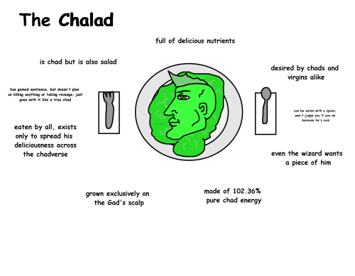 Be Eaten: The Chalad  full of delicious nutrients  is chad but is also salad  desired by chads and  virgins alike  has gained sentience, but doesn't plan  on killing anything or taking revenge; just  goes with it like a true chad  can be eaten with a spoon,  won't judge you  if  do  you  because he's cool  YUM!  eaten by all, exists  only to spread his  deliciousness across  even the wizard wants  the chadverse  a piece of him  made of 102.36%  grown exclusively on  the Gad's scalp  chad  pure  energy The Chalad