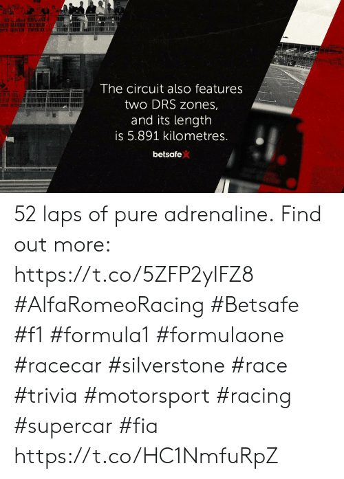 Memes, F1, and Race: The circuit also features  two DRS zones,  and its length  is 5.891 kilometres.  betsafe 52 laps of pure adrenaline. Find out more: https://t.co/5ZFP2yIFZ8  #AlfaRomeoRacing #Betsafe #f1 #formula1 #formulaone #racecar #silverstone #race #trivia #motorsport #racing #supercar #fia https://t.co/HC1NmfuRpZ