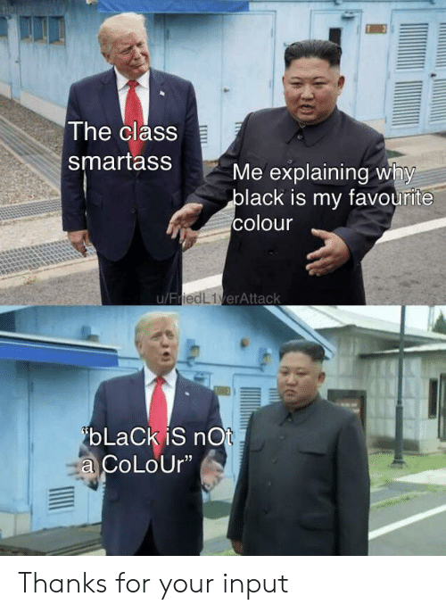 "Input: The class  smartass  Me explaining why  black is my favourite  colour  u/FriedL1verAttack  ibLaCk iS nOt  a CoLoUr"" Thanks for your input"