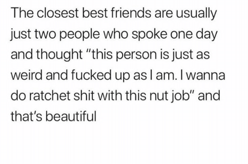 """Beautiful, Friends, and Ratchet: The closest best friends are usually  just two people who spoke one day  and thought """"this person is just as  weird and fucked up asl am. I wanna  do ratchet shit with this nut job"""" and  that's beautiful"""
