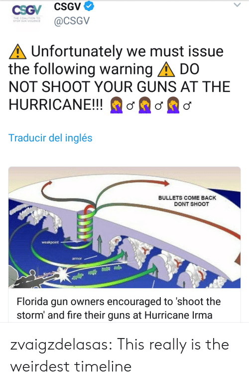 the hurricane: THE COALITION TO  STOP GUN VIOLENCE  @cSGv  Unfortunately we must issue  the following warning ▲ DO  NOT SHOOT YOUR GUNS AT THE  HURRICANE!! ơße  Traducir del inglés  BULLETS COME BACK  DONT SHOOT  weakpoint  armor  Florida gun owners encouraged to 'shoot the  storm' and fire their guns at Hurricane Irma zvaigzdelasas: This really is the weirdest timeline