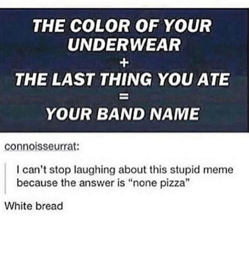 """Stupid Memes: THE COLOR OF YOUR  UNDERWEAR  THE LAST THING YOU ATE  YOUR BAND NAME  connoisseurrat:  I can't stop laughing about this stupid meme  because the answer is """"none pizza""""  White bread"""