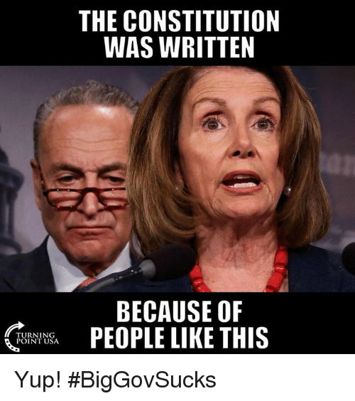 Memes, Constitution, and 🤖: THE CONSTITUTION  WAS WRITTEN  BECAUSE OF  PEOPLE LIKE THIS  TURNING  POINT USA Yup! #BigGovSucks