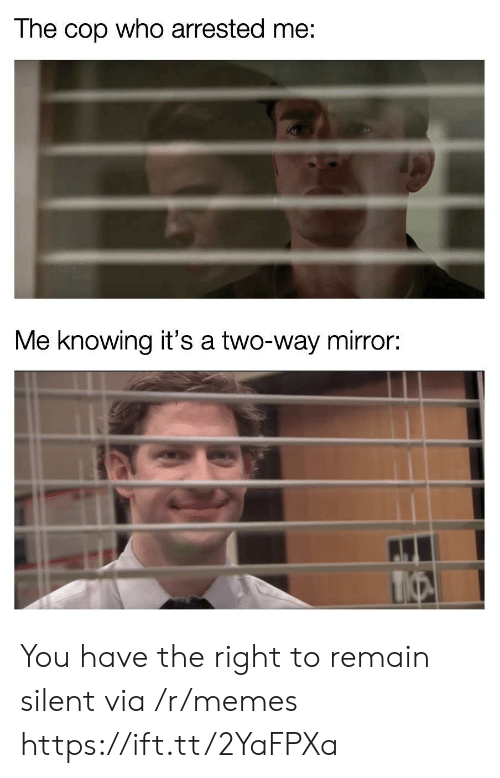 Remain Silent: The cop who arrested me:  Me knowing it's a two-way mirror: You have the right to remain silent via /r/memes https://ift.tt/2YaFPXa