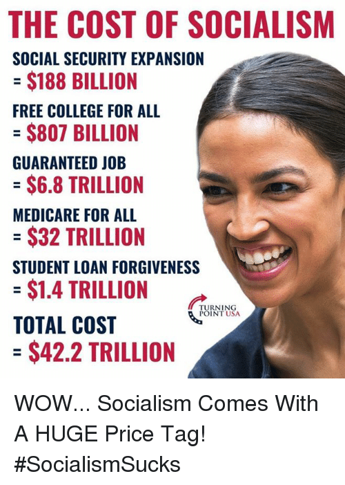 College For: THE COST OF SOCIALISM  SOCIAL SECURITY EXPANSION  = $188 BILLION  FREE COLLEGE FOR ALL  $807 BILLION  GUARANTEED JOB  = $6.8 TRILLION  MEDICARE FOR ALL  = $32 TRILLION  STUDENT LOAN FORGIVENESS  = $1.4 TRILLION  TOTAL COST  = $42.2 TRILLION  TURNING  POINT USA WOW... Socialism Comes With A HUGE Price Tag! #SocialismSucks